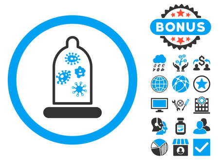 microbes: Condom Microbes icon with bonus pictures. Glyph illustration style is flat iconic bicolor symbols, blue and gray colors, white background. Stock Photo