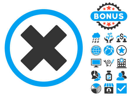 deny: Delete X-Cross icon with bonus images. Vector illustration style is flat iconic bicolor symbols, blue and gray colors, white background. Illustration