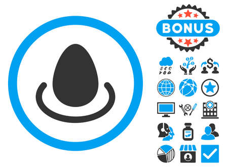 Deposit Egg icon with bonus elements. Vector illustration style is flat iconic bicolor symbols, blue and gray colors, white background.