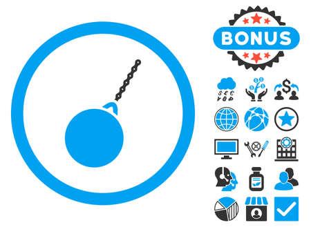 destruction: Destruction Hammer icon with bonus design elements. Vector illustration style is flat iconic bicolor symbols, blue and gray colors, white background.