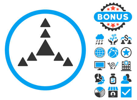 Direction Triangles icon with bonus pictures. Vector illustration style is flat iconic bicolor symbols, blue and gray colors, white background.