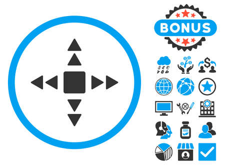 Direction Triangles icon with bonus images. Vector illustration style is flat iconic bicolor symbols, blue and gray colors, white background.