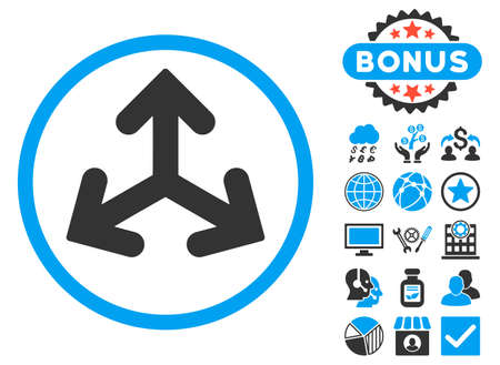 variants: Direction Variants icon with bonus images. Vector illustration style is flat iconic bicolor symbols, blue and gray colors, white background.