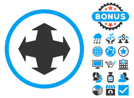 directions icon: Directions icon with bonus design elements. Vector illustration style is flat iconic bicolor symbols, blue and gray colors, white background.