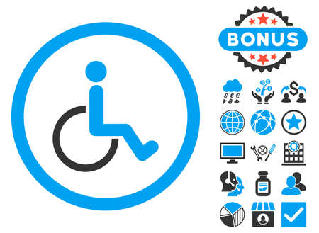 Disabled Person icon with bonus images. Vector illustration style is flat iconic bicolor symbols, blue and gray colors, white background. Illustration