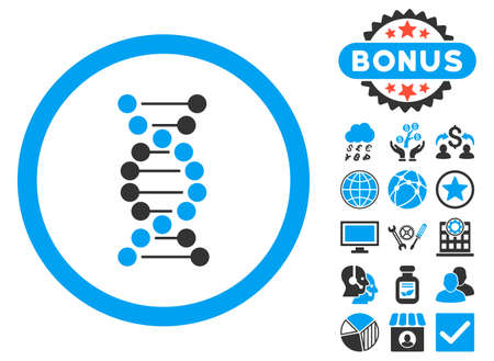decode: DNA icon with bonus pictures. Vector illustration style is flat iconic bicolor symbols, blue and gray colors, white background.