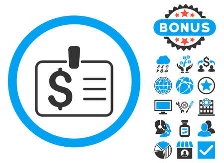 access card: Dollar Badge icon with bonus symbols. Vector illustration style is flat iconic bicolor symbols, blue and gray colors, white background. Illustration