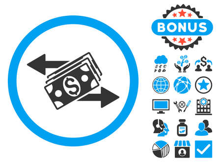 banknotes: Dollar Banknotes Payments icon with bonus symbols. Vector illustration style is flat iconic bicolor symbols, blue and gray colors, white background.