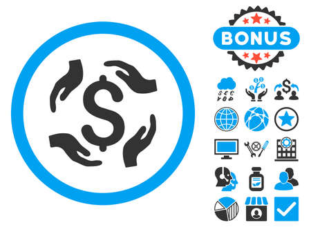 Dollar Care Hands icon with bonus symbols. Vector illustration style is flat iconic bicolor symbols, blue and gray colors, white background.