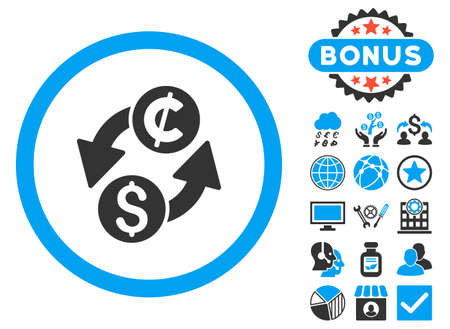 Dollar Cent Exchange icon with bonus pictogram. Vector illustration style is flat iconic bicolor symbols, blue and gray colors, white background. Illustration