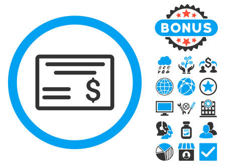Dollar Cheque icon with bonus pictogram. Vector illustration style is flat iconic bicolor symbols, blue and gray colors, white background. Ilustração