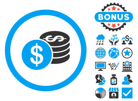 Dollar Coins icon with bonus symbols. Vector illustration style is flat iconic bicolor symbols, blue and gray colors, white background. Illustration