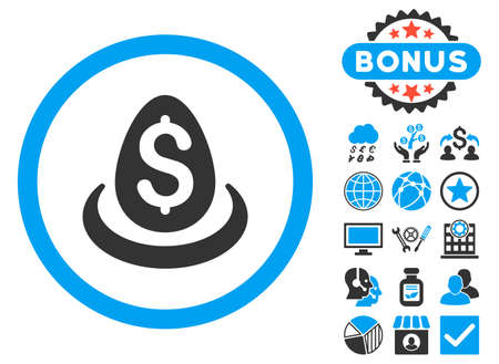 Dollar Deposit Egg icon with bonus pictogram. Vector illustration style is flat iconic bicolor symbols, blue and gray colors, white background.