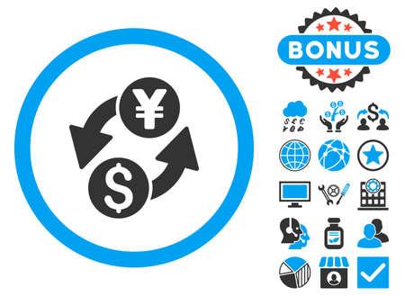 Dollar Yen Exchange icon with bonus symbols. Vector illustration style is flat iconic bicolor symbols, blue and gray colors, white background. Illustration