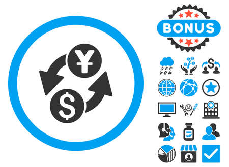 Dollar Yuan Exchange icon with bonus design elements. Vector illustration style is flat iconic bicolor symbols, blue and gray colors, white background.