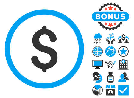 Dollar icon with bonus elements. Vector illustration style is flat iconic bicolor symbols, blue and gray colors, white background. Illustration