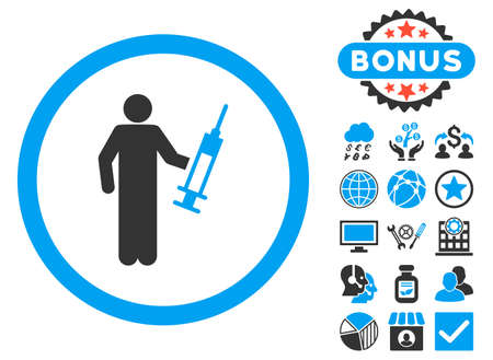 drug dealer: Drug Dealer icon with bonus pictures. Vector illustration style is flat iconic bicolor symbols, blue and gray colors, white background.