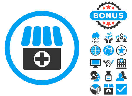 polyclinic: Drugstore icon with bonus images. Vector illustration style is flat iconic bicolor symbols, blue and gray colors, white background. Illustration