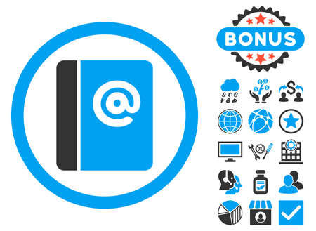 Emails icon with bonus images. Vector illustration style is flat iconic bicolor symbols, blue and gray colors, white background.