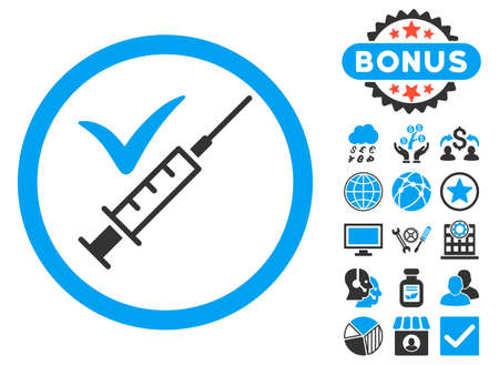 inoculation: Done Vaccination icon with bonus images. Vector illustration style is flat iconic bicolor symbols, blue and gray colors, white background. Illustration