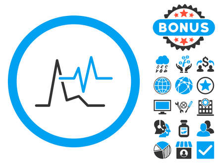 pulsating: ECG icon with bonus pictures. Vector illustration style is flat iconic bicolor symbols, blue and gray colors, white background.