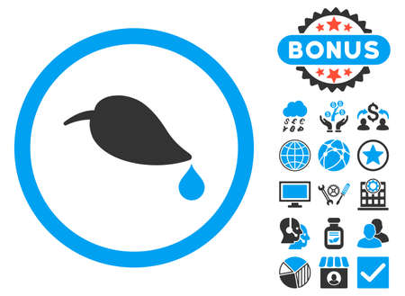 environmental science: Ecology Leaf icon with bonus pictogram. Vector illustration style is flat iconic bicolor symbols, blue and gray colors, white background.