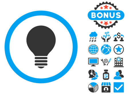 electric bulb: Electric Bulb icon with bonus elements. Vector illustration style is flat iconic bicolor symbols, blue and gray colors, white background.