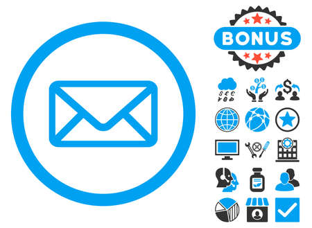 Envelope icon with bonus design elements. Vector illustration style is flat iconic bicolor symbols, blue and gray colors, white background.