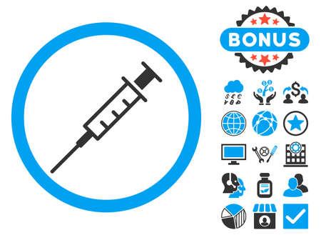 Empty Syringe icon with bonus design elements. Vector illustration style is flat iconic bicolor symbols, blue and gray colors, white background.