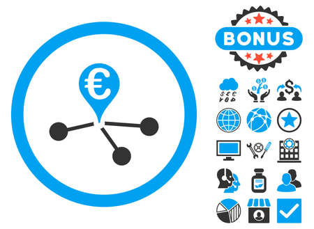 Euro Bank Branches icon with bonus pictogram. Vector illustration style is flat iconic bicolor symbols, blue and gray colors, white background. Illustration
