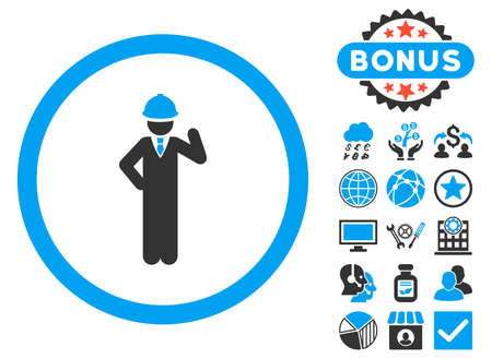 Engineer icon with bonus pictures. Vector illustration style is flat iconic bicolor symbols, blue and gray colors, white background.