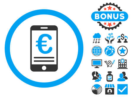 bank account: Euro Mobile Bank Account icon with bonus pictures. Vector illustration style is flat iconic bicolor symbols, blue and gray colors, white background.