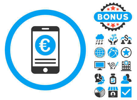 mobile banking: Euro Mobile Banking icon with bonus pictures. Vector illustration style is flat iconic bicolor symbols, blue and gray colors, white background.
