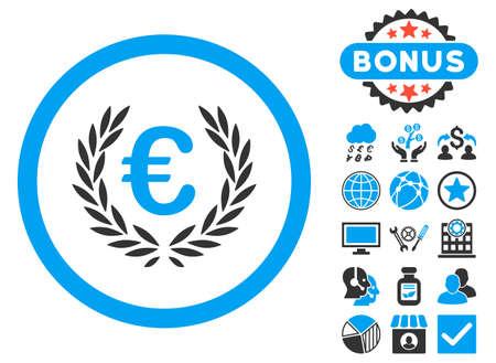 cognizance: Euro Glory icon with bonus symbols. Vector illustration style is flat iconic bicolor symbols, blue and gray colors, white background.