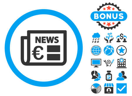 Euro Newspaper icon with bonus pictures. Vector illustration style is flat iconic bicolor symbols, blue and gray colors, white background. Illustration