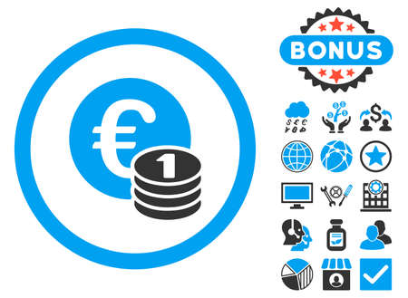 euro coins: Euro Coins icon with bonus symbols. Vector illustration style is flat iconic bicolor symbols, blue and gray colors, white background.