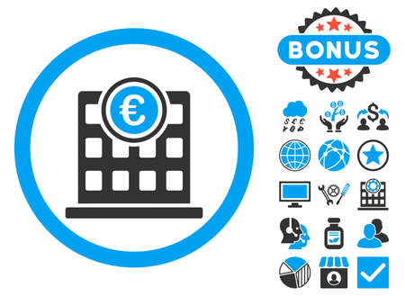 Euro Company Building icon with bonus pictogram. Vector illustration style is flat iconic bicolor symbols, blue and gray colors, white background.