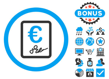 treaty: Euro Contract icon with bonus pictogram. Vector illustration style is flat iconic bicolor symbols, blue and gray colors, white background.