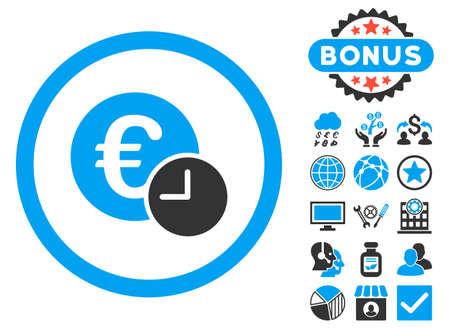 Euro Credit icon with bonus symbols. Vector illustration style is flat iconic bicolor symbols, blue and gray colors, white background. Illustration