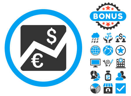 stockmarket chart: Euro Dollar Chart icon with bonus pictures. Vector illustration style is flat iconic bicolor symbols, blue and gray colors, white background.
