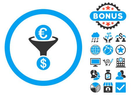 conversion: Euro Dollar Conversion Funnel icon with bonus pictogram. Vector illustration style is flat iconic bicolor symbols, blue and gray colors, white background.