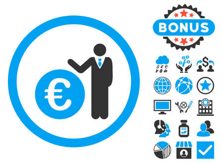 economist: Euro Economist icon with bonus pictogram. Vector illustration style is flat iconic bicolor symbols, blue and gray colors, white background.