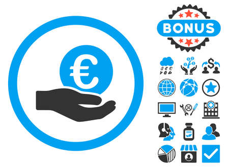 salaries: Euro Salary Hand icon with bonus elements. Vector illustration style is flat iconic bicolor symbols, blue and gray colors, white background.