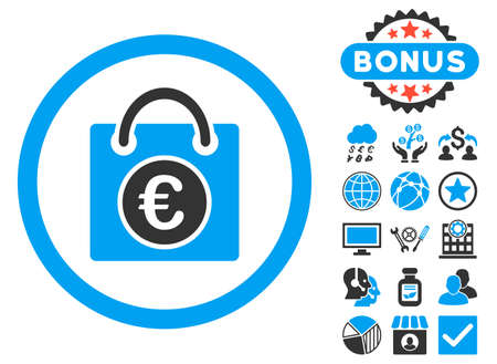 webshop: Euro Shopping Bag icon with bonus pictures. Vector illustration style is flat iconic bicolor symbols, blue and gray colors, white background.