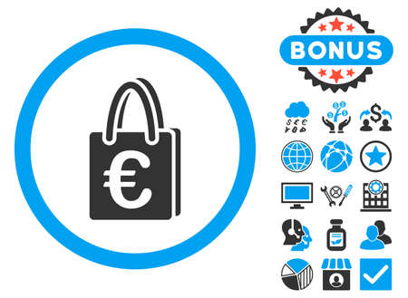 shopping bag vector: Euro Shopping Bag icon with bonus pictogram. Vector illustration style is flat iconic bicolor symbols, blue and gray colors, white background.