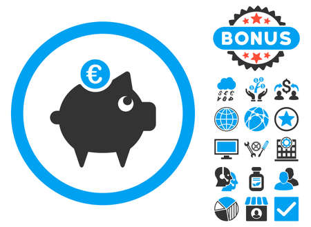 Euro Piggy Bank icon with bonus images. Vector illustration style is flat iconic bicolor symbols, blue and gray colors, white background.