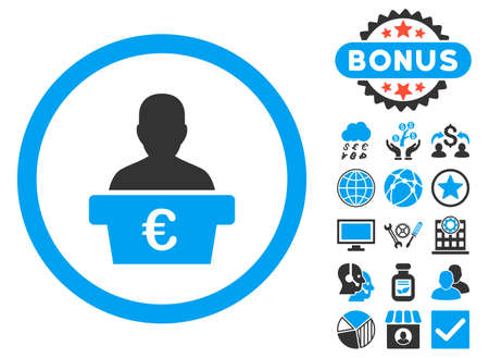 Euro Politician icon with bonus pictures. Vector illustration style is flat iconic bicolor symbols, blue and gray colors, white background.