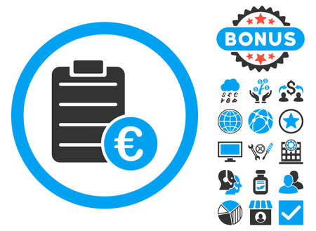 enumerate: Euro Prices icon with bonus design elements. Vector illustration style is flat iconic bicolor symbols, blue and gray colors, white background. Illustration