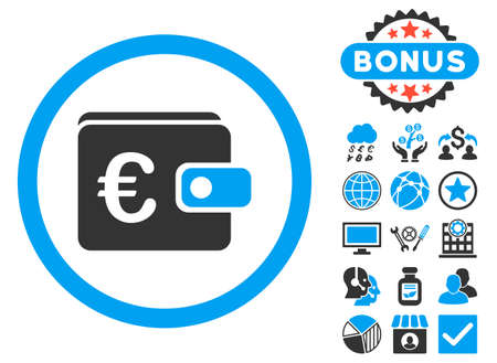 billfold: Euro Purse icon with bonus pictures. Vector illustration style is flat iconic bicolor symbols, blue and gray colors, white background.
