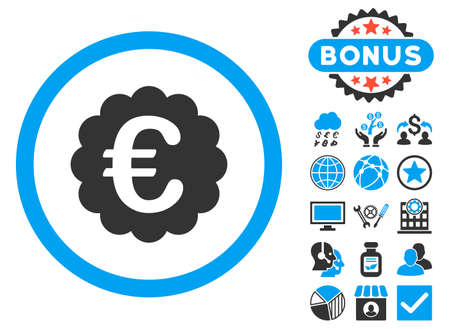 Euro Quality Seal icon with bonus symbols. Vector illustration style is flat iconic bicolor symbols, blue and gray colors, white background. Illustration